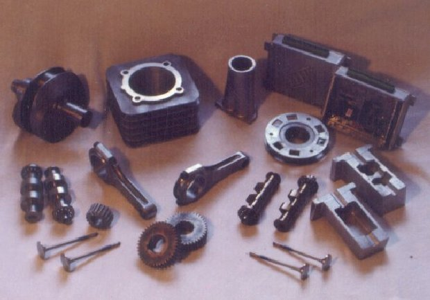 Various parts, including crankshaft, camshafts, barrel, cam carrier, fuel injection control box and inlet manifold